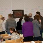 Över 150 förslag och idéer till utveckling tapetserades hela långsidan!